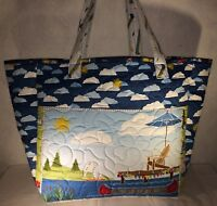 Larger Quilted Tote Market Bag Handmade Let's Go Glamping Wilmington Fabric