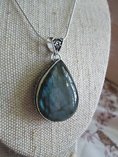 ~ Natural Labradorite Gemstone Pendant & Silver Plated Chain ~ Teardrop Shape ~