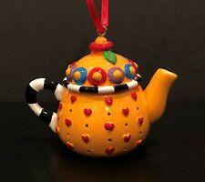 Mary Engelbreit Ink Miniature Teapot Christmas Ornament