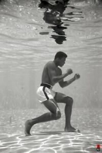 Muhammad Ali Water Training Black & White Poster 24 X 36