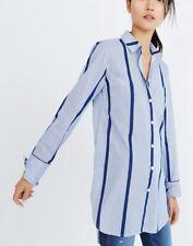 Madewell Top XS boyfriend shirt white blue striped button down Long Sleeve