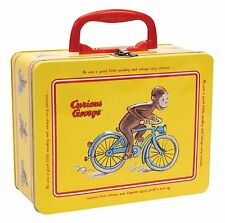 NEW Curious George Tin Lunch Box School Lunchbox Yellow Metal Container for Kids