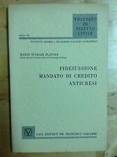 D'ORAZI FLAVONI FIDEIUSSIONE MANDATO DI CREDITO ANTICRESI VALLARDI 1961