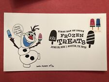 2018 FDC First Day Cover Frozen Treat Olaf Snowman Laser Cachet  bella