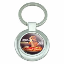 I'm Into Fitness Pizza in my Mouth Classy Round Plated Metal Keychain