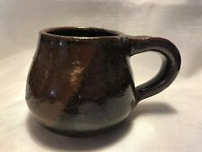 Thick Brown Glazed Earthenware Stoneware Pottery Mug Signed Three Circles Mark
