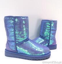 New Ugg Classic Short Sparkles Provence Purple Sequined Shearling Boots Women 7