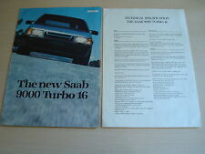 SAAB 9000 TURBO 16 UK SALES BROCHURE & SPECIFICATION SHEET - DATED 1984