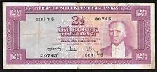 Turkey Paper Money - 2 1/2 Lire Note (1952)  P150 - FINE