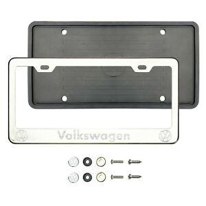 V0lkswag3n Laser Etched Chrome T304 Stainless Steel License Frame Silicone Guard