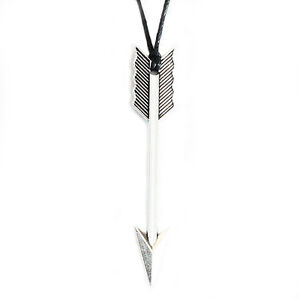 Arrow Charm Pendant Choker Necklace with Black Cord
