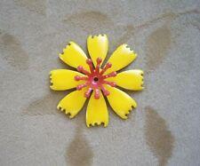 8 Vintage,enamel metal,flower bead,cabochon,yellow,46m