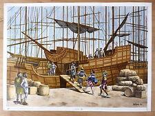 Dibujo Original de Enrique Ventura,Tripulacion Carabela