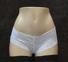 Leg Avenue Stretch Lace Tanga White Hipster Sleep Short Size Small/Medium