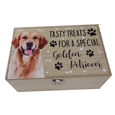 Golden Retriever Dog Treats Food Storage Container Holder Biscuits Barrel Wood