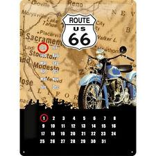 Blechschild Route 66 Kalender 40 x 30 cm 3D Garagendeko alte Schilder