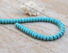 64 Blue Turquoise Howlite gemstone 6x10mm abacus rondelle rounded beads Craft