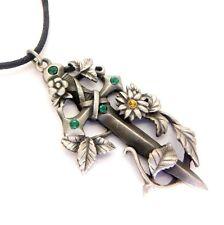 Greenwood Espada en Verde Flor Amuleto Colgante Collar De Cristal De Estaño GW14