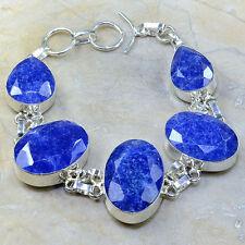 "Handmade Blue Sapphire Gemstone 925 Sterling Silver Bracelet 8.5"" #D95969"