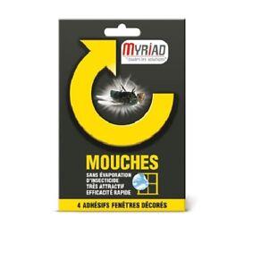 LOT 4 ADHESIF FENETRES DECORES ANTI MOUCHES MYRIAD très attractif efficace