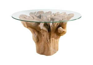 """44"""" Long Dining Table Root Base Glass Top Wood Resin 786"""