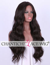 "24"" Dark Wine Full Wigs Red Long Wavy Synthetic Hair Wig For Women Heat Safe UK"