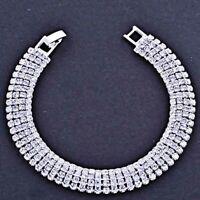 Korean Silver Plated 5-Row clear CZ Wedding Tennis Fashion Bracelet 7.1 in''