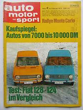 Auto Motor Sport 4/1970, Rally Monte Carlo, Test: Fiat 128 - 124