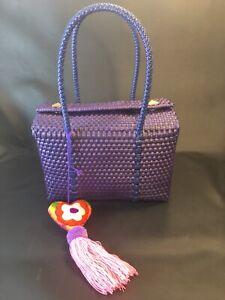 "Woven Mexican Recycled Plastic Bag Purse w/ Felt Heart Tassel 8""x5""x7"" Purple"