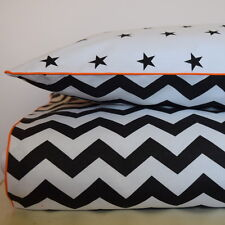 Monochrome 100 Cotton Single Bed Duvet Cover Set Black & White Stars Chevron