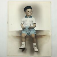 Vintage Smiling Grinning Little Boy Blue Beanie Tinted Sepia Tone Photo Portrait