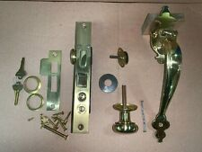 Vintage Solid Brass Door Pull Handle Thumb Latch with lock and knobs