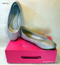 SOLE-SIMPLE Silver Women Classic Solid Plain Design Comfort Walking Flats Shoes