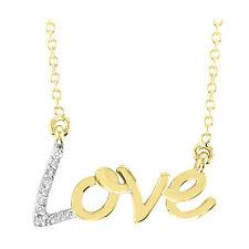 ".07ctw 14k Yellow Gold Diamond Love Necklace 18"" Genuine Diamonds Handmade USA"