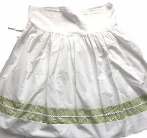 Pottery Barn Kids Bassinet Skirt Green & White Gingham Check Basket Dust Ruffle