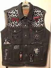 Punk Rock Black Metal Custom Designed Battle Vest Denim Jacket Studs & Spikes