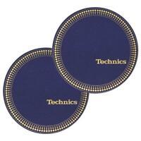 Coppia Feltri Panni Antistatici Giradischi Slipmats Technics Strobo Blue / Gold