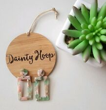 Pretty resin green and pink dangle dainty dangle earrings