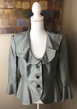 ARMANI COLLEZIONI 12 Luxury Raw 100% Silk RUFFLES Sage Green Womens Jacket