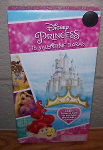 Valentines Day Cards (Box of 16) Disney Princess 16 Valentine Tiaras