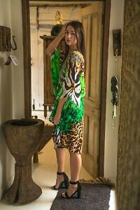 Butterfly sleeves KaftansTunic Resort Wear Digital Designer Viscose Silk  SV621