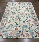 Vintage Cottage WOOL HOOKED Area RUG 5 x 7 Americana Local Pick Up