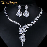 CWWZircons Cubic Zirconia Bridal Necklace Earrings Jewelry Sets Wedding Gifts