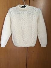 Beautiful Childs Traditional Aran Cable Knit Pure New Wool Jumper Sweater Soft