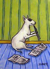 Bull terrier dog clarinet art Print 11x17 glossy photo animals artist new