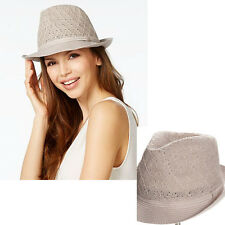 New COLLECTION 18 XIIX Color Expansion Crochet Fedora Sun Hat Womens Sandstone