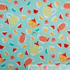 BonEful Fabric FQ Cotton Quilt VTG Aqua Blue Red Orange White Teapot Tea*cup Dot