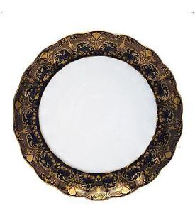 Euro Porcelain Round Serving Platter, Dark Cobalt Blue 24K Gold Vintage Dining