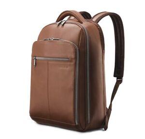 "Samsonite - Classic Leather Backpack for 15.6"" Laptop - Chestnut"