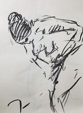 "JOSE TRUJILLO Original Charcoal on Paper Sketch Drawing 18X24"" FIGURATIVE NUDE"